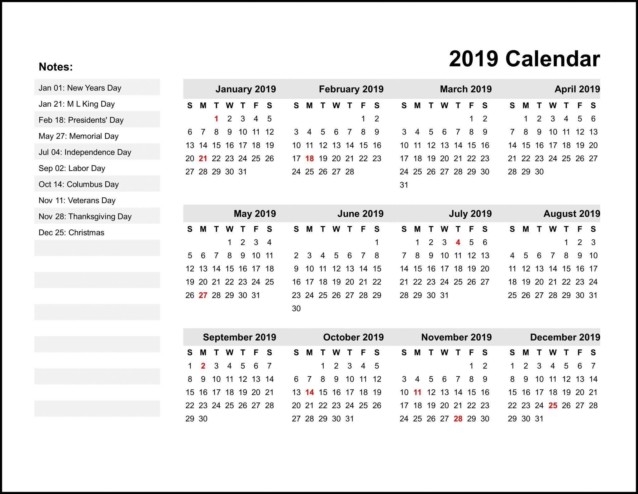 2019 Printable Monthly Calendar Printable calendar