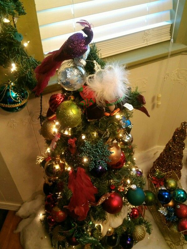 One of two small trees I created using a tomato cage wrapped in - how to decorate a small christmas tree