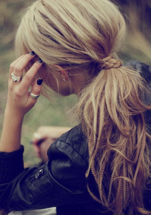 Cute Easy Hairstyles For Long Hair Delectable Twisted Hair With Messy Ponytail Small Cute Braid  Love It So Much