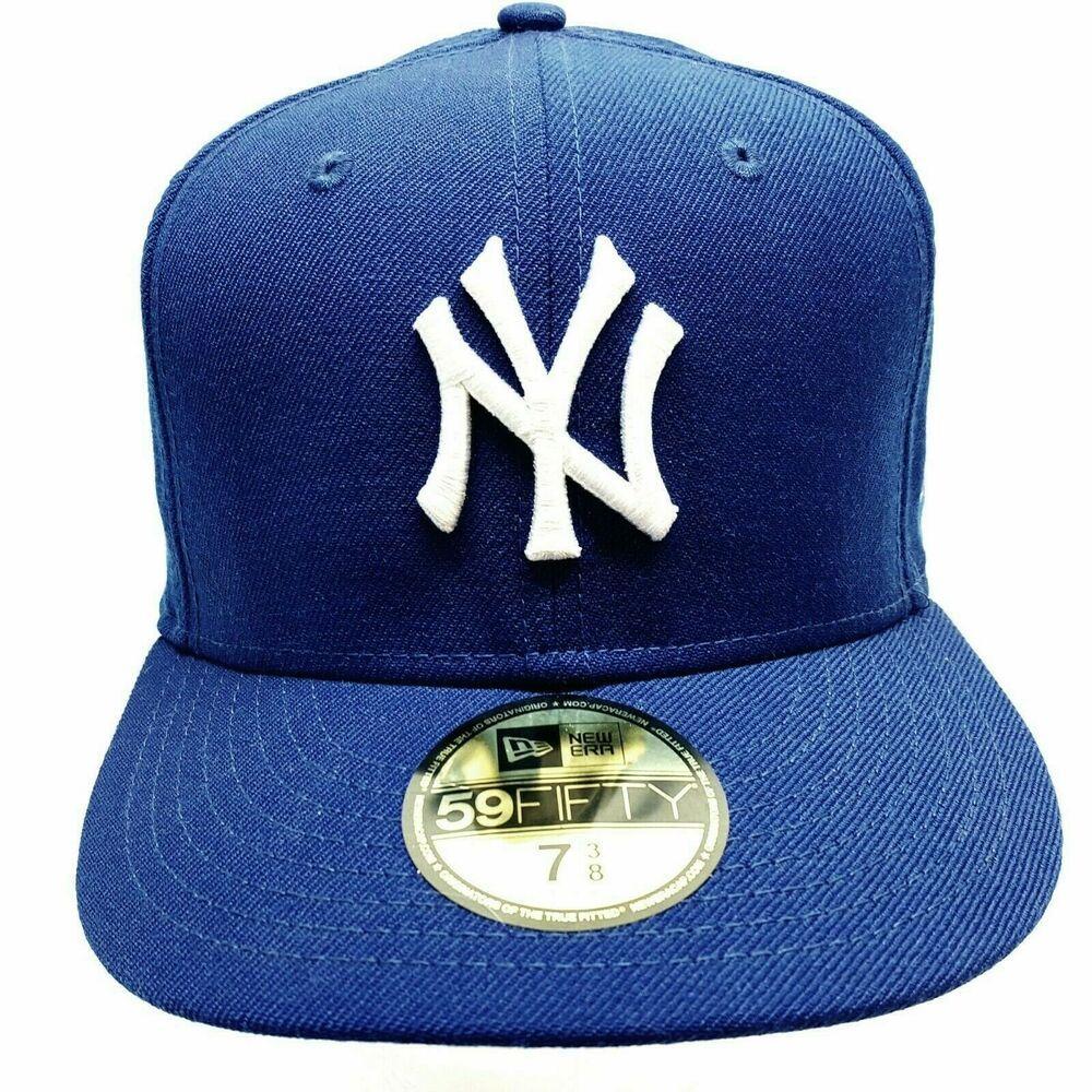 New York Yankees New Era 59fifty Fitted Hat Blue Mlb Cap Hat Size 7 3 8 Newera Baseballcap Ebaystore Freeshipping S New Era 59fifty Fitted Hats Hat Sizes