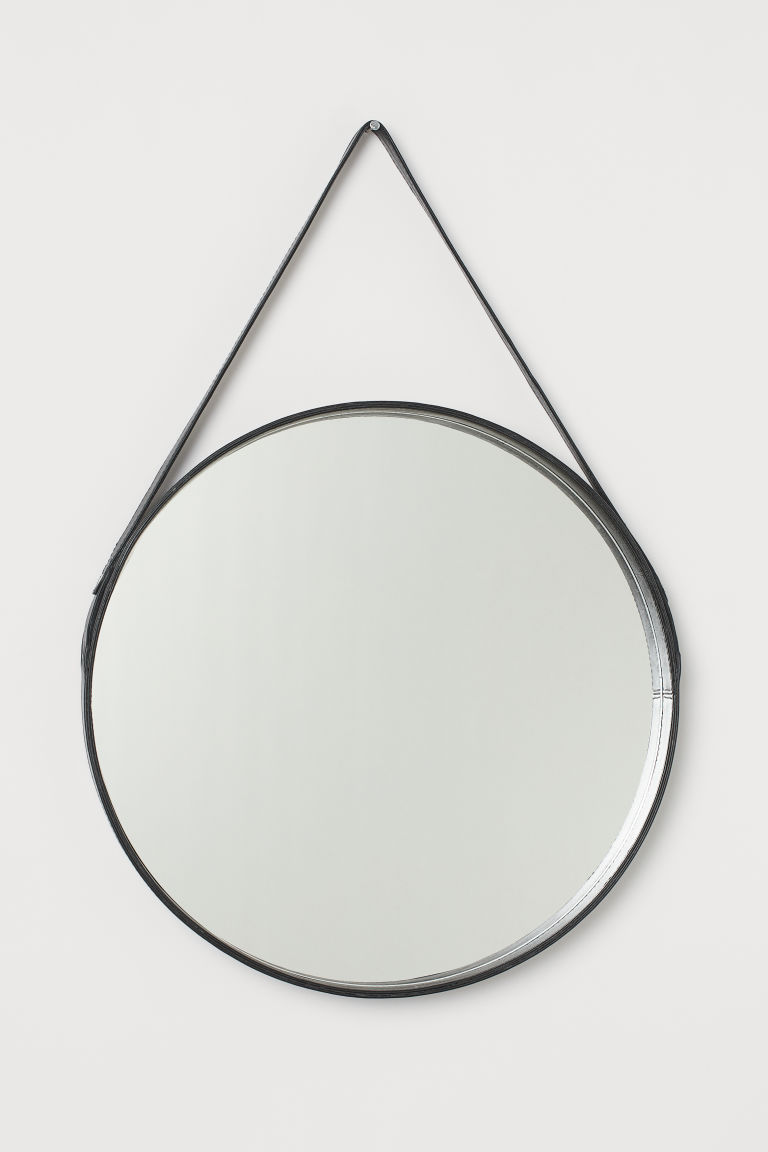 Ronde Spiegel Met Leren Lijst Zwart Home H M Nl Mirrors With Leather Straps Round Mirrors Round Hanging Mirror