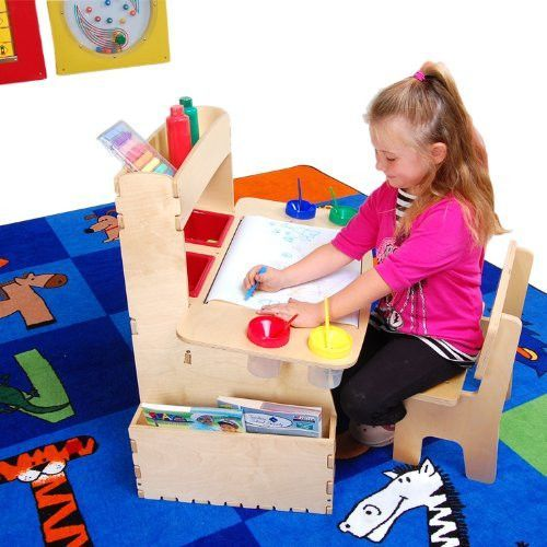 Anatex All in One Art Table for Kids Real Wood with Chair
