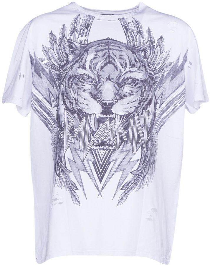 db1d8880 Balmain Tiger Print T-shirt | Products in 2019 | White cotton t ...