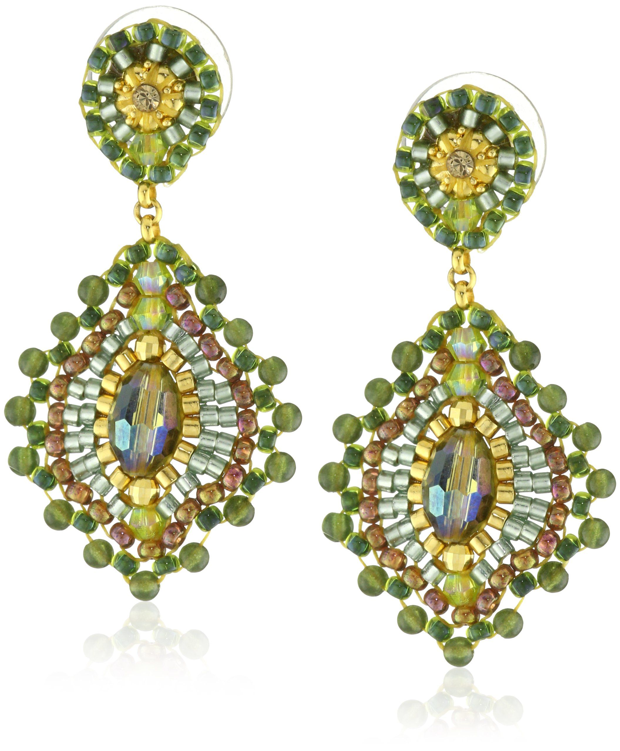 83dea253e9a8 Miguel Ases Small Green Jade Lotus Drop Earrings Miguelitos