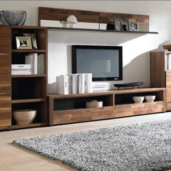 Source modern simple tv stand walnut wood veneer tv - Dresser as tv stand in living room ...