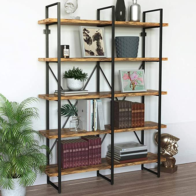IRONCK Industrial Bookshelf and Bookcase Double Wi