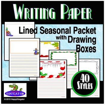 Holiday Writing Paper - Lined Paper - Seasonal Packet with Drawing - paper lined