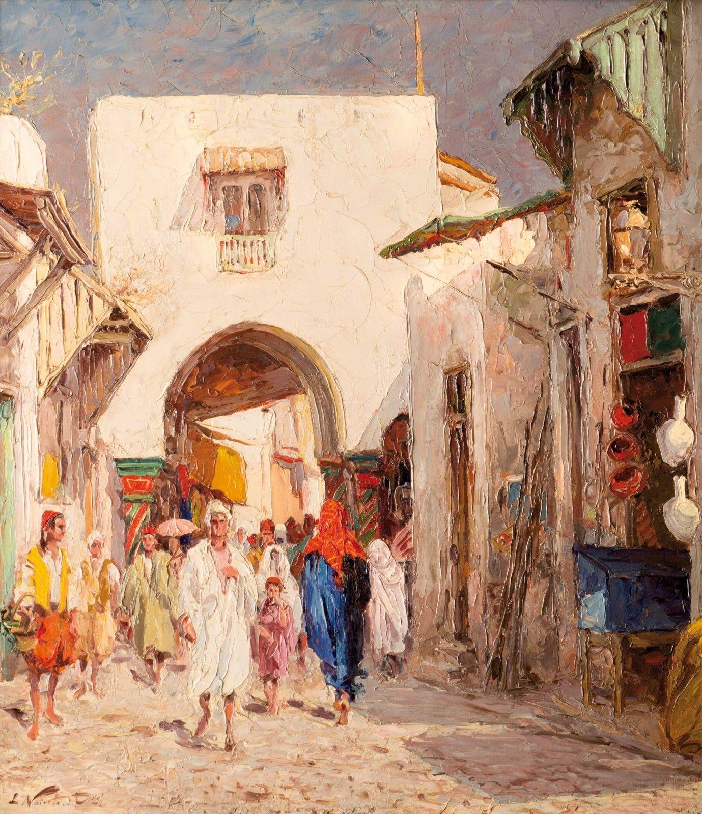 L. Noireaut (1890-1960) - Dans la Médina de Tunis   Peinture orientaliste, Peinture tunisienne ...
