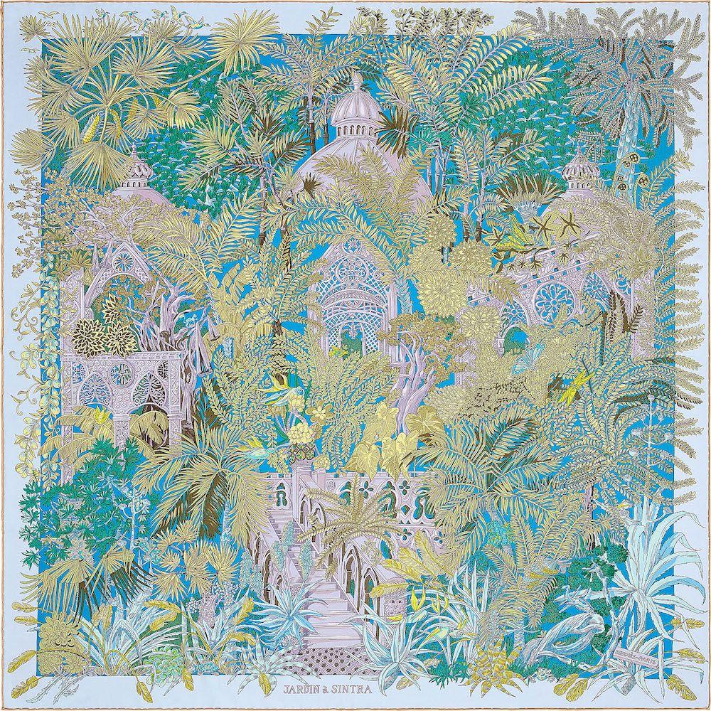 50e66a6f5258 Hermes Jardin a Sintra Silk Twill Scarf 90   Carré Hermes ...