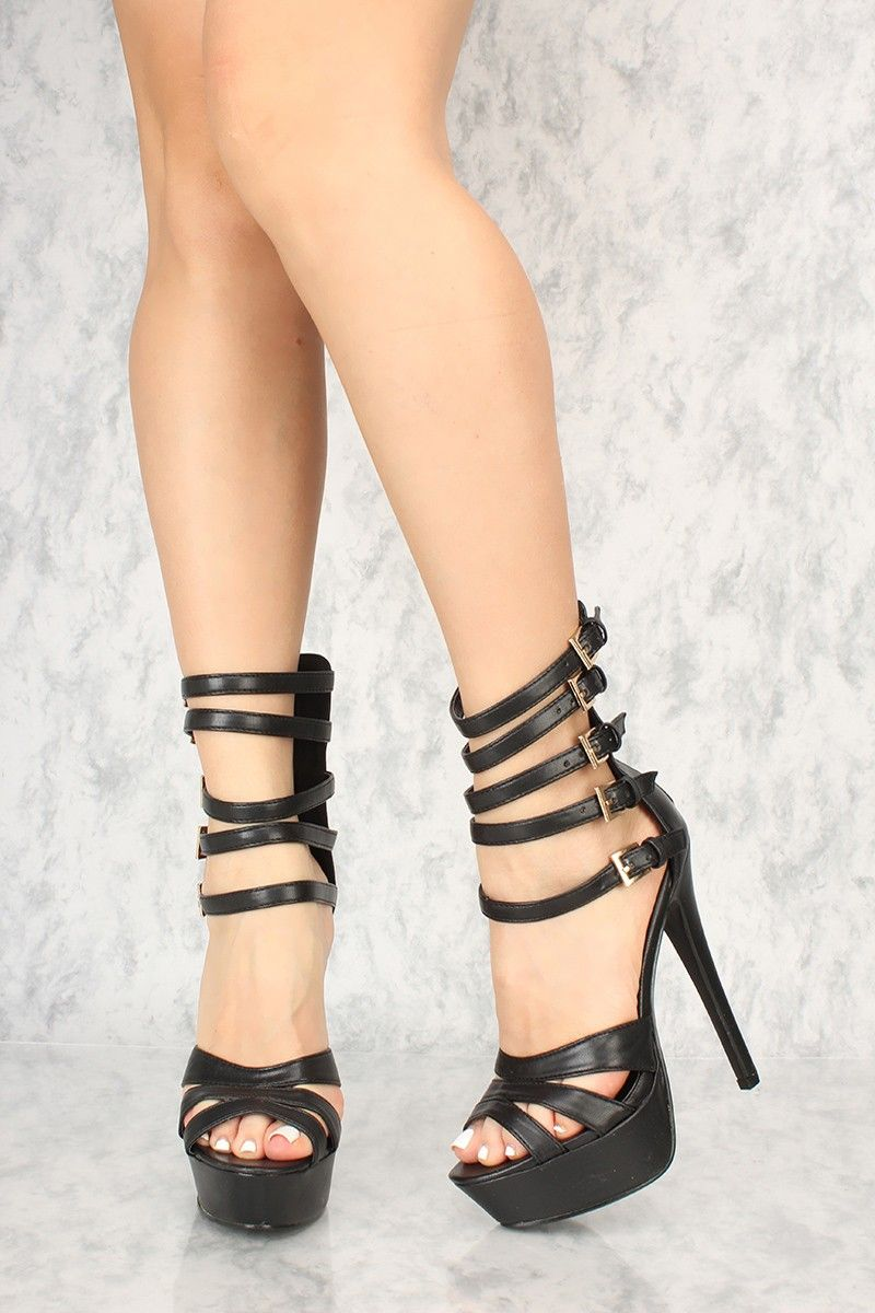 ba22cfb271b1d Sexy Black Buckle Straps Platform 6 Inch Stiletto High Heels | Cute ...