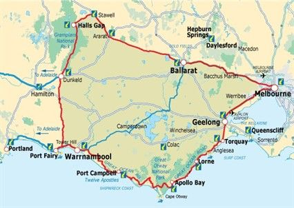 Map of Great Southern Touring Route  Great Ocean Route