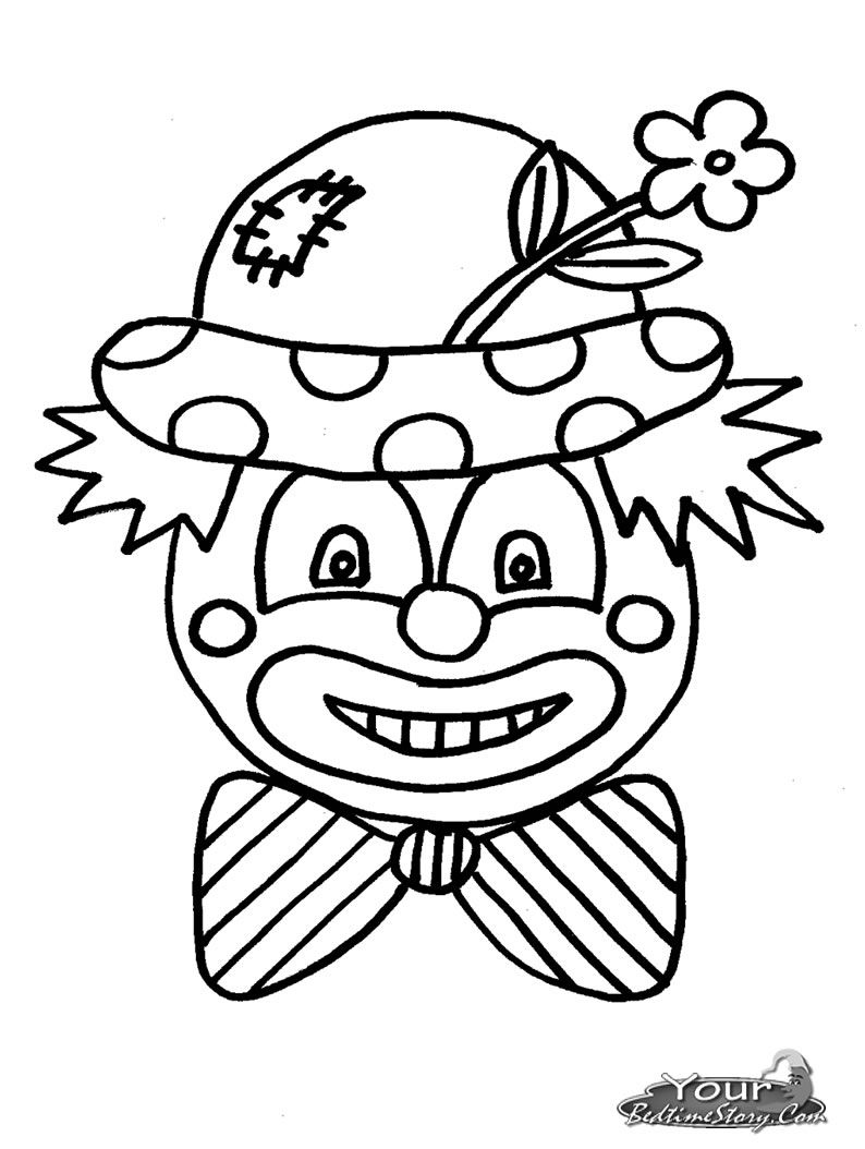 clown coloring pages yourbedtimestorycom coloring pages - Clown Coloring Page
