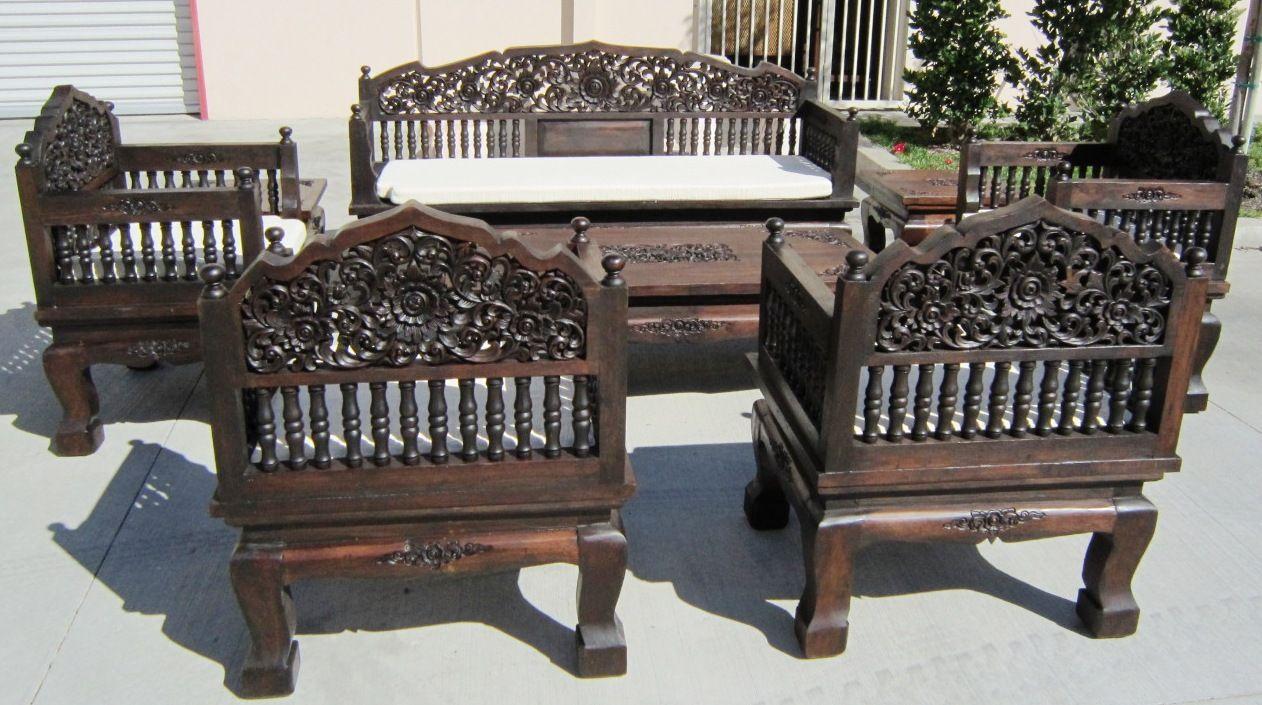 hand carved set of 8 piece teak wood living room set | k. style