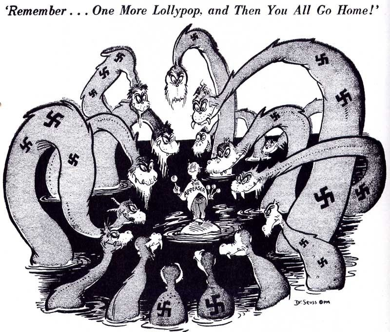 This is a political cartoon of the Treaty of Versailles and I - master settlement agreement