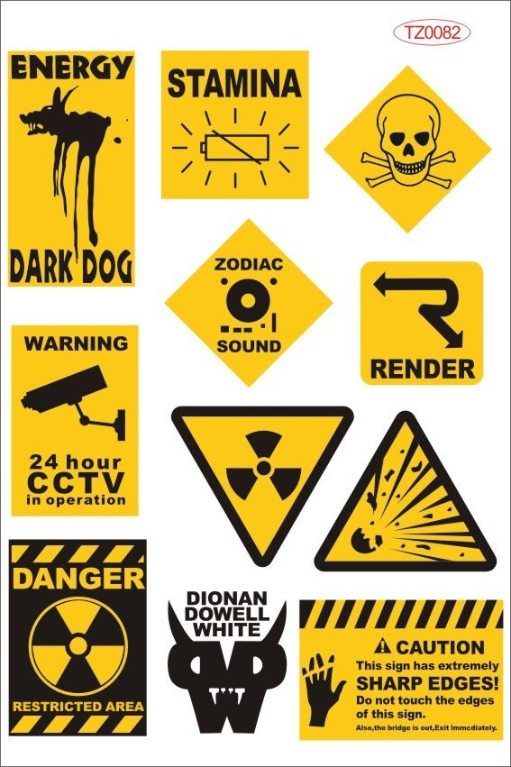 Yellow Warning Logo Laptop Stickers Trolley Luggage Waterproof - Stickers on motorcycles