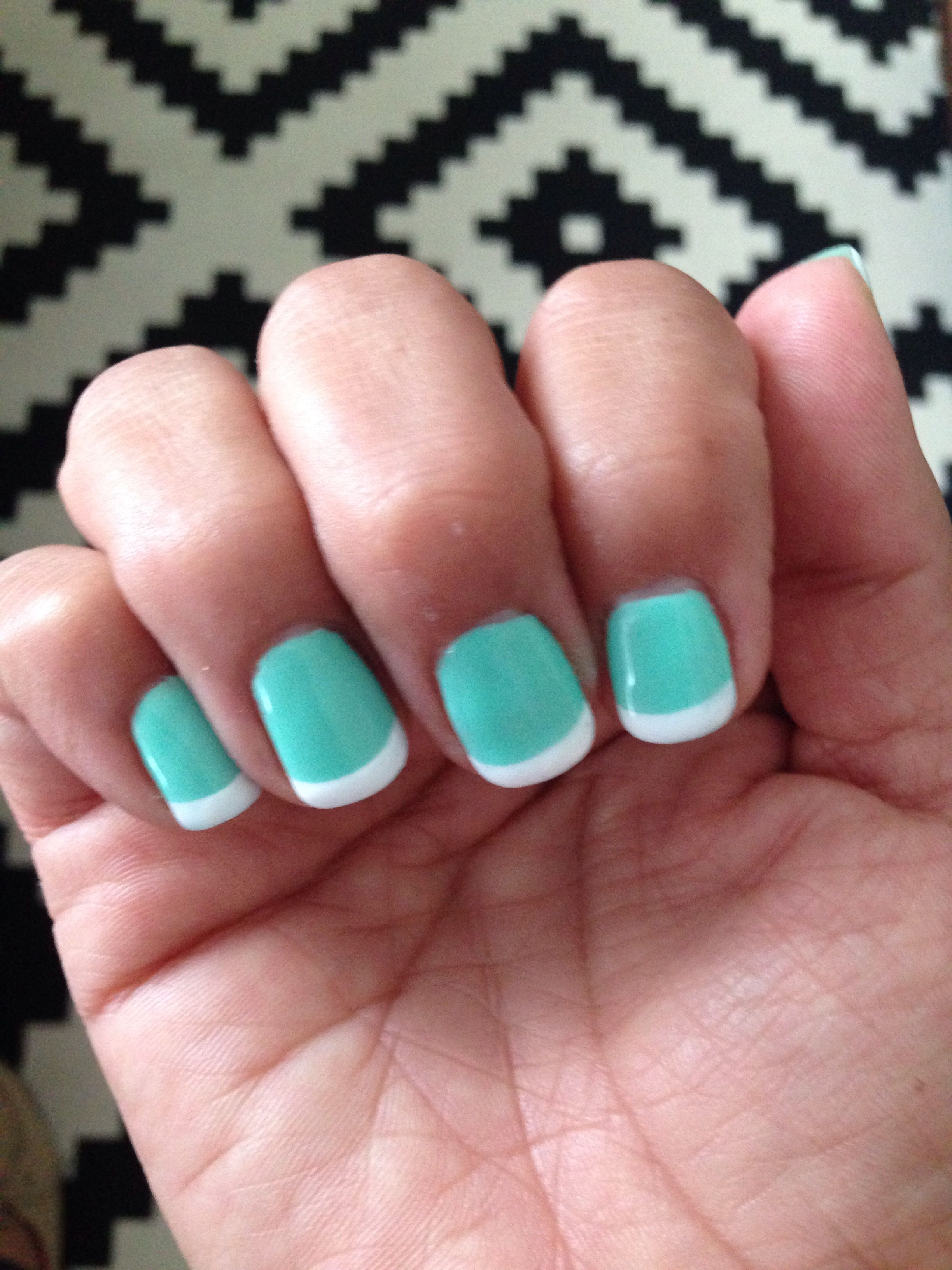 Mint with white French tip @ KC Nails in La Habra CA | Nails | Pinterest