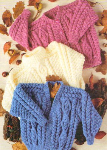 Irish Baby Kids Cardigan Round V Sweater 22-32 Aran Knitting Pattern ...