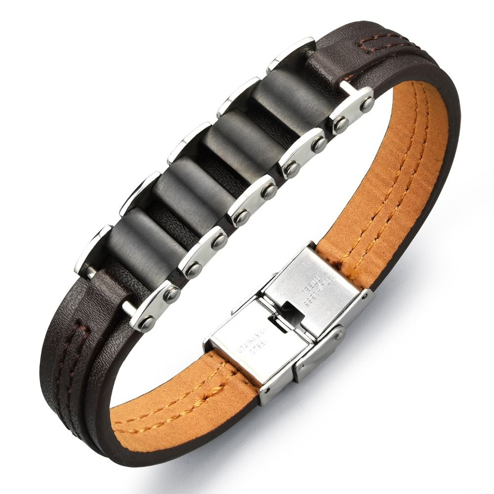 Men genuine pu leather bracelet titanium steel male leather bracelet