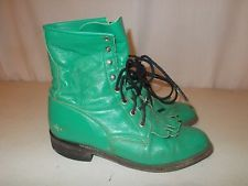 """JUSTIN - Womens Green Leather Roper 8"""" Boot - L531 - Size 5.5 ~ THE COLOUR!  WHY are these not 8.5?!?!?!?"""