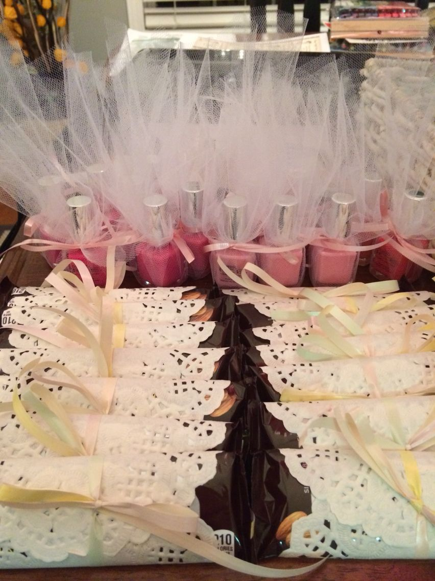 Vintage Tea Party Baby Shower Favors Candy Bars And Nail Polish