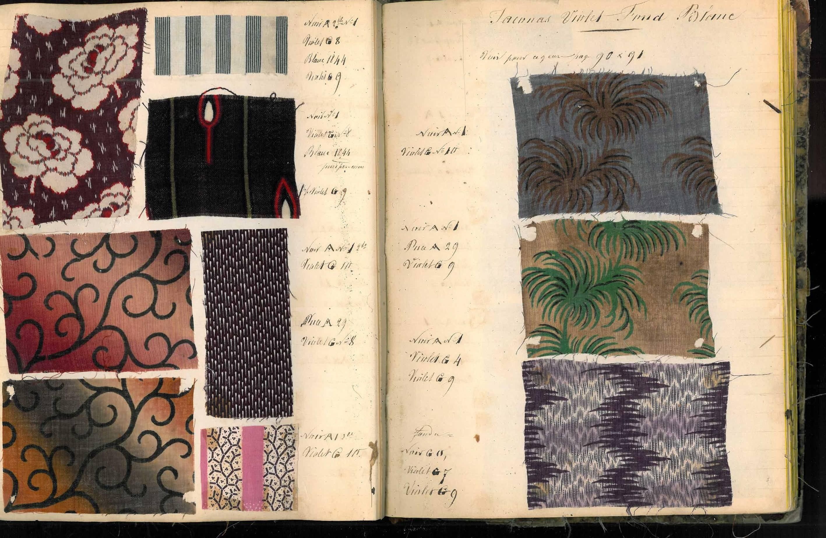 Two mid19th century fabric swatch books books fabric