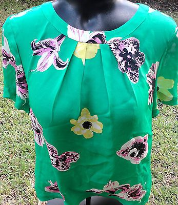 5698c8675c2 NEW J Crew Swoop Top Punk Floral Shirt Silk BLouse GREEN Sold Out Sz 10