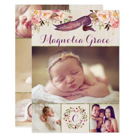 Modern Floral Baby Girl Birth Announcement Cards Birth - Girl birth announcements