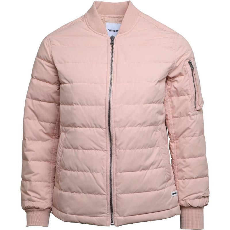 Converse Womens Oversized MA-1 Down Bomber Jacket Pink Silver ... 2b1c4f153