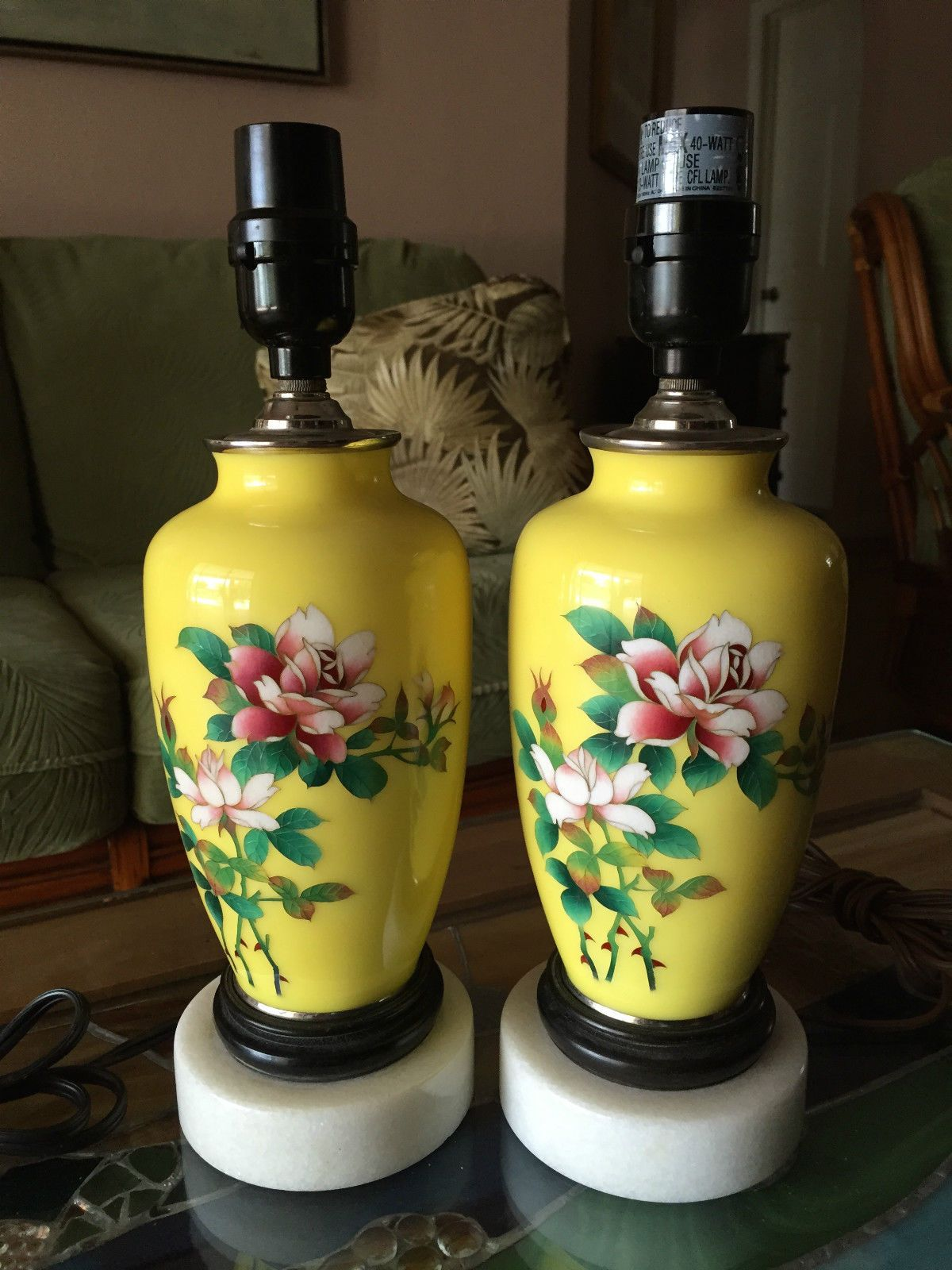 Pottery barn clift glass lamp ebay - Antique Japanese Ando Cloisonne Yellow Matching Roses Table Lamps Marble Base Ebay
