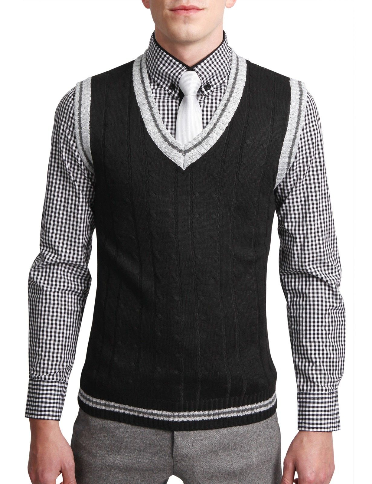 Mens Casual V-Neck Sweater Vest (N111Z) | Cardigans For Men ...