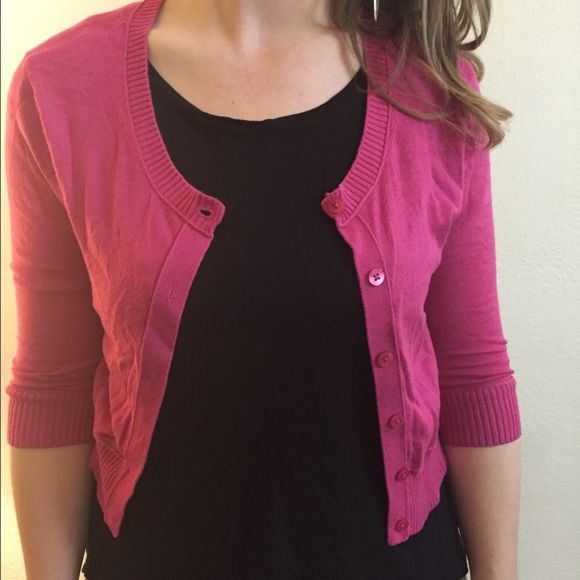 Pink button down cardigan NY&C pink cardigan. Button down and quarter length sleeves for pretty much any season except winter. Made of cotton, rayon, and nylon. Machine washable. New York & Company Sweaters Cardigans