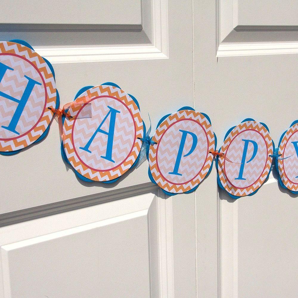 HAPPY BIRTHDAY Banner - Chevron Birthday Party Decorations - Aqua Blue, Red & Orange Chevron Birthday Banner - Chevron Birthday Sign BB6