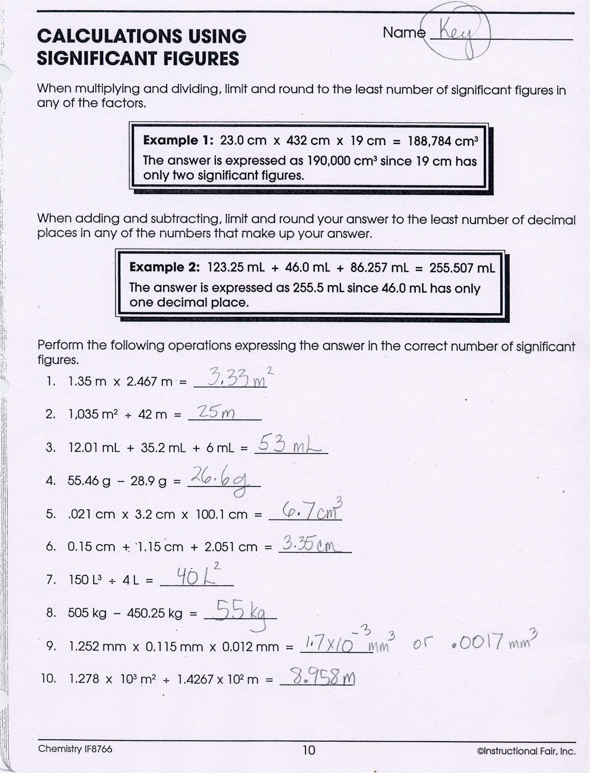 Significant Figures Worksheet Answers