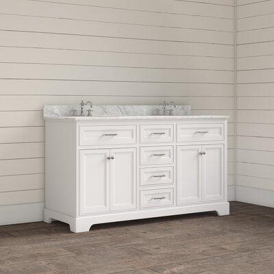 Photo of Breakwater Bay Kingon 60″ Double Bathroom Vanity Set Base Finish: White, Top Finish: Carrara Marble