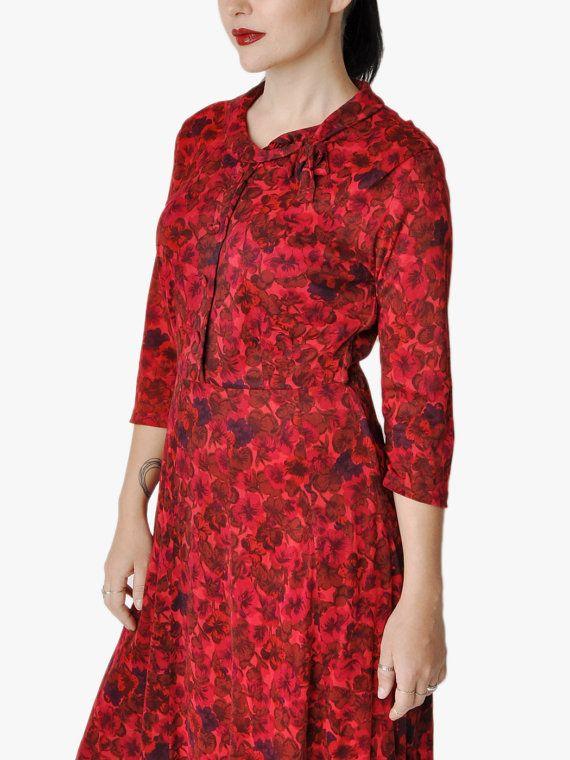 SALE - Vintage Raspberry Floral Dress on Etsy, $50.00
