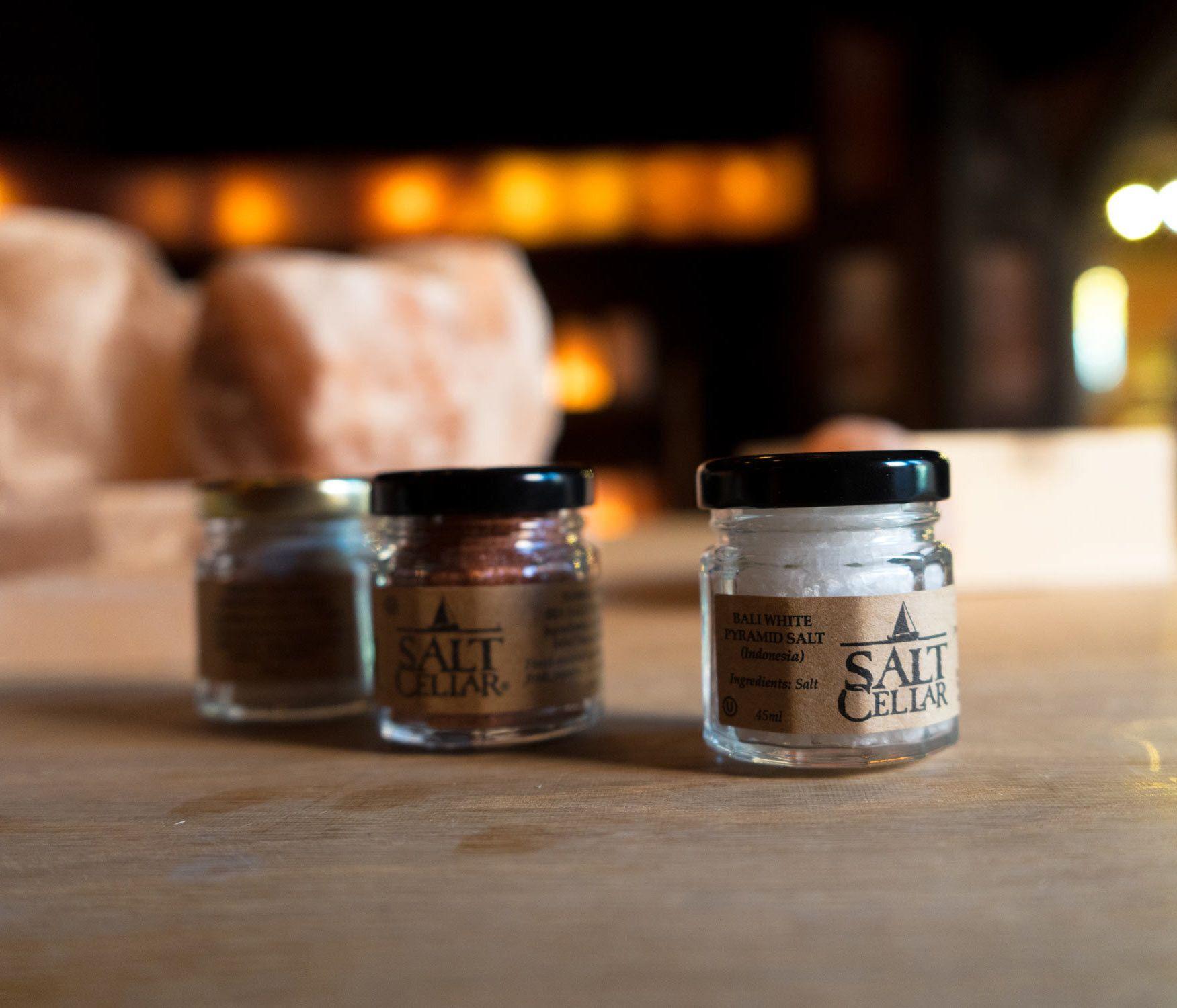 gourmet salt, salt sampler, salt set, finishing salt, flavored salt, salt cellar