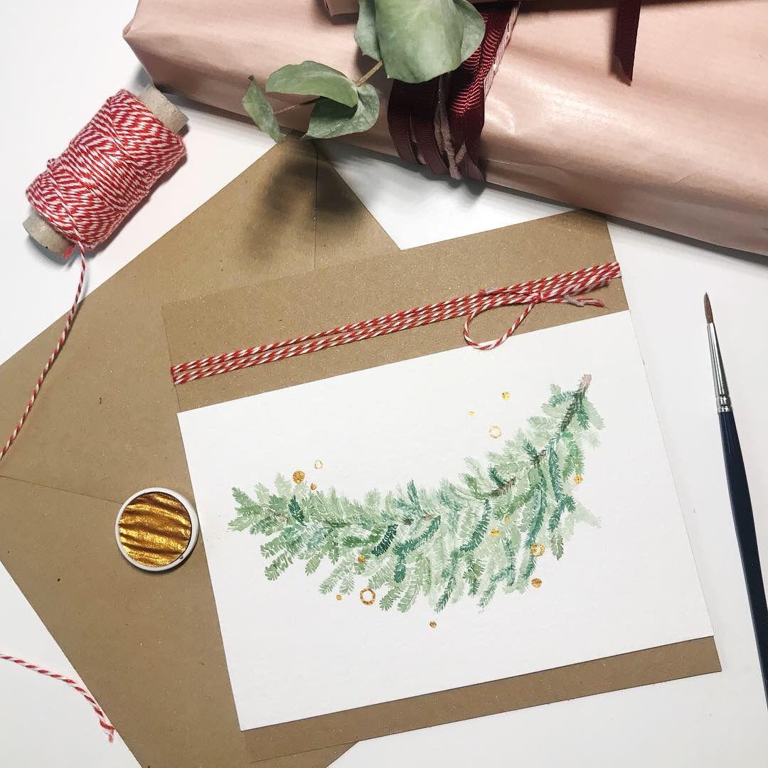 weihnachtskarten selber machen tannenzweig floral. Black Bedroom Furniture Sets. Home Design Ideas