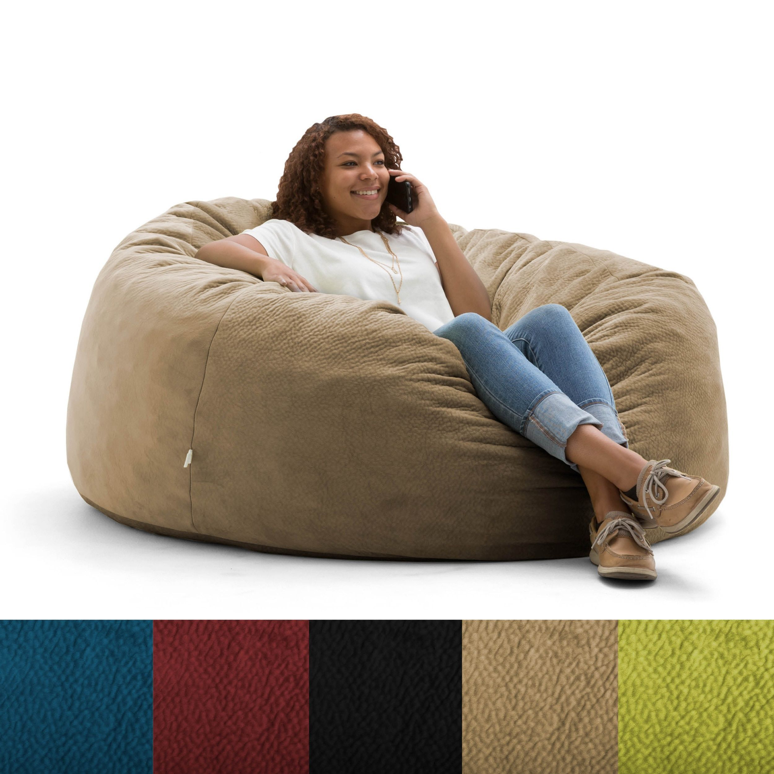 Peachy Fufsack Big Joe Lux Textured Memory Foam Bean Bag Chair Ibusinesslaw Wood Chair Design Ideas Ibusinesslaworg