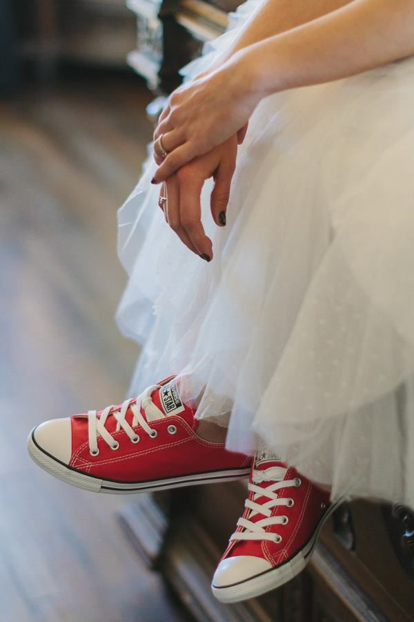 Red Converse Paired With Wedding Dress