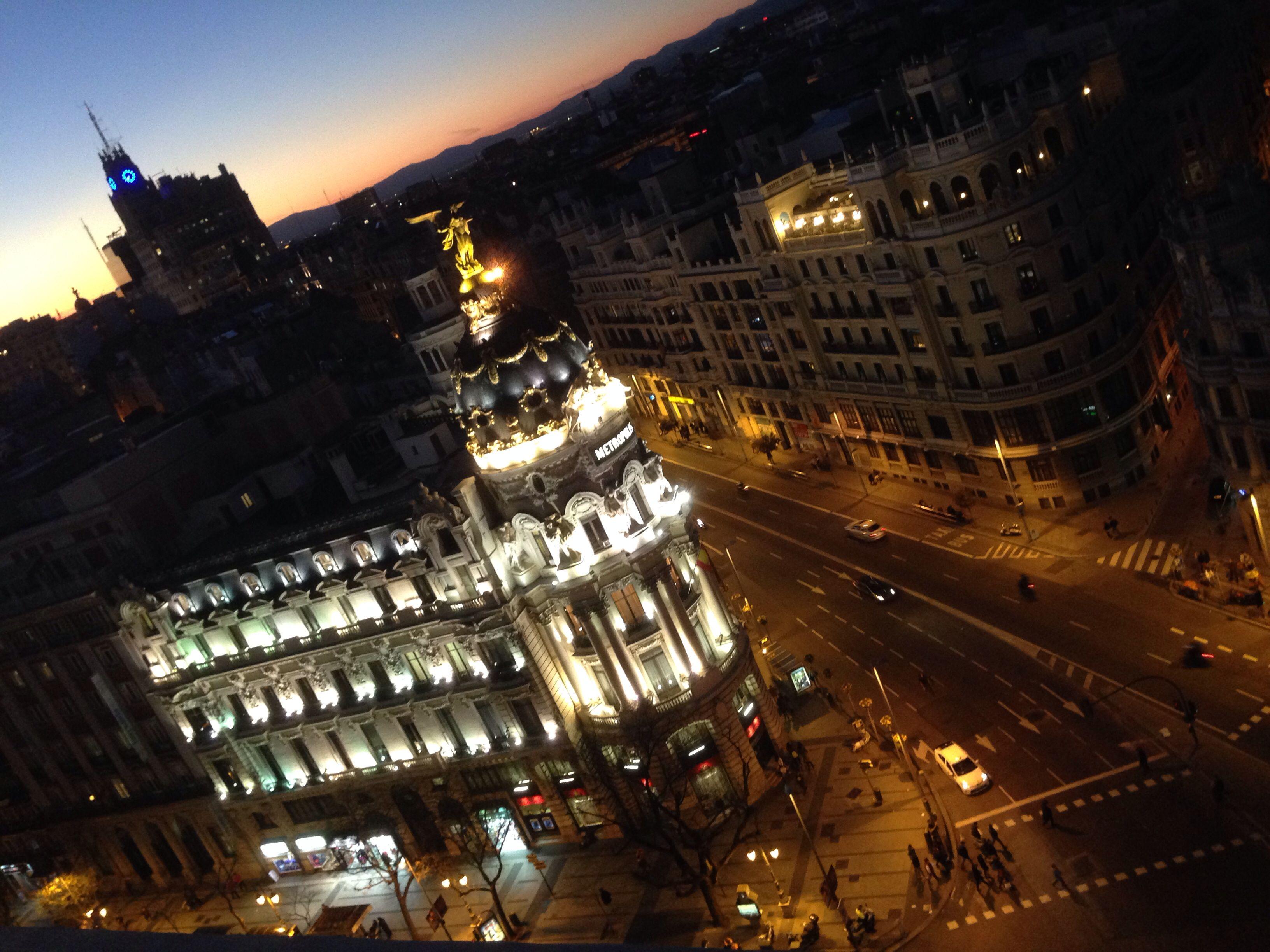 Madrid De Noche Desde La Azotea Del Círculo De Bellas Artes