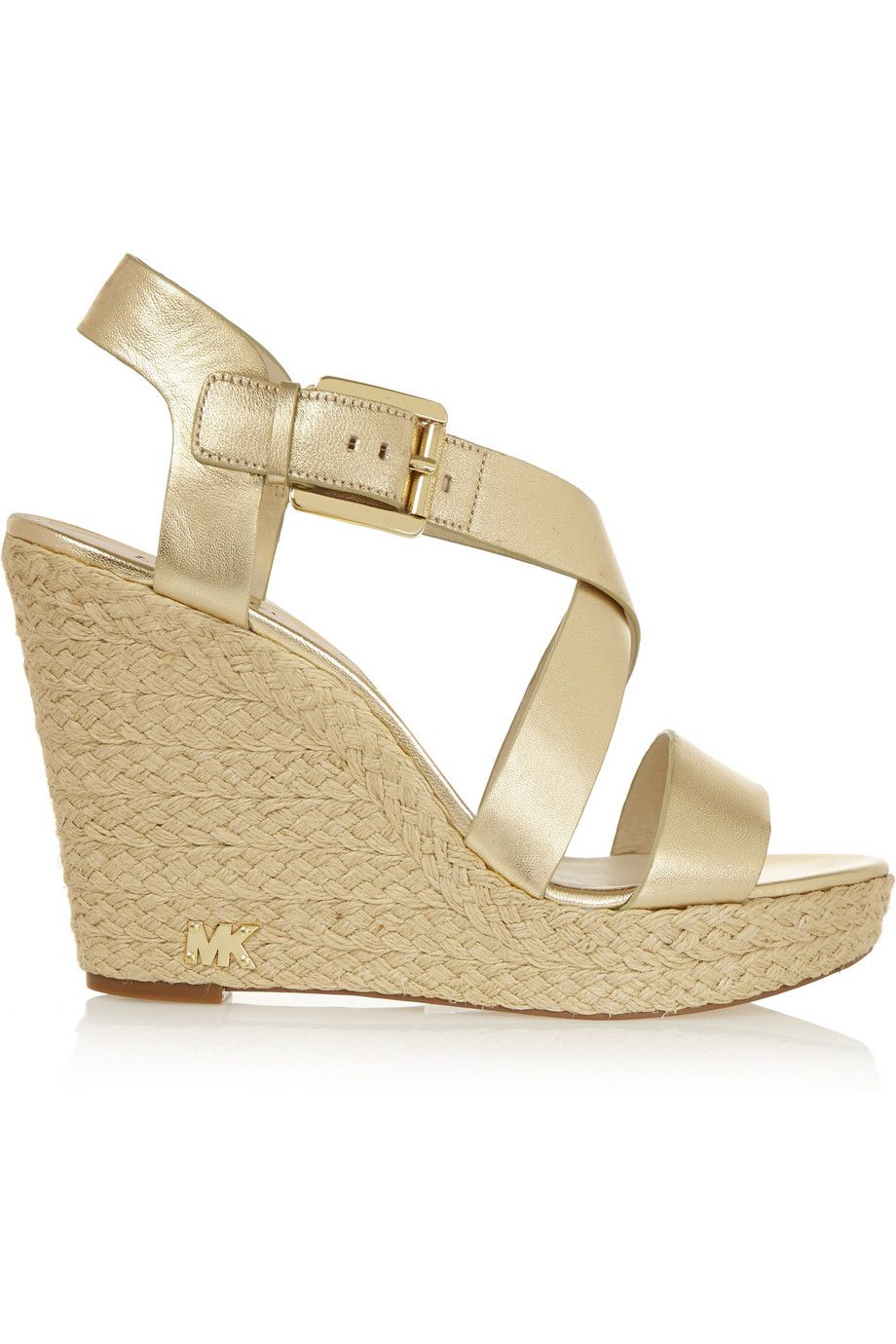 db1c22f9af9 MICHAEL Michael Kors Giovanna metallic leather espadrille wedge ...