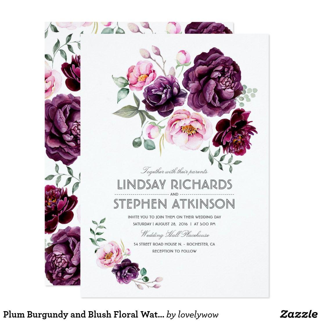Plum Burgundy and Blush Floral Watercolor Wedding Card | Wedding ...