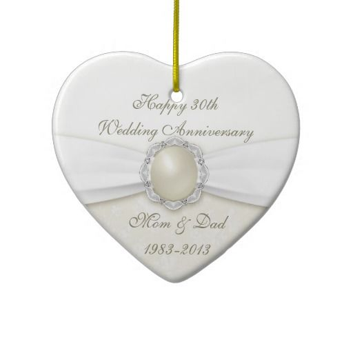 Pearl Wedding Anniversary Gift Ideas For Parents: Damask 30th Wedding Anniversary Ornament