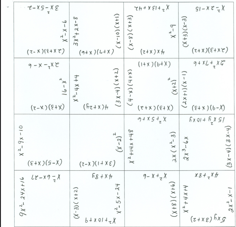 This Puzzle Could Be Used As A Fluency Activity For Multiplying Or Factoring Polynomials Algebra Worksheets Maths Algebra Teaching Algebra