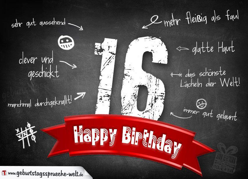 Komplimente Geburtstagskarte Zum 16 Geburtstag Happy Birthday Top