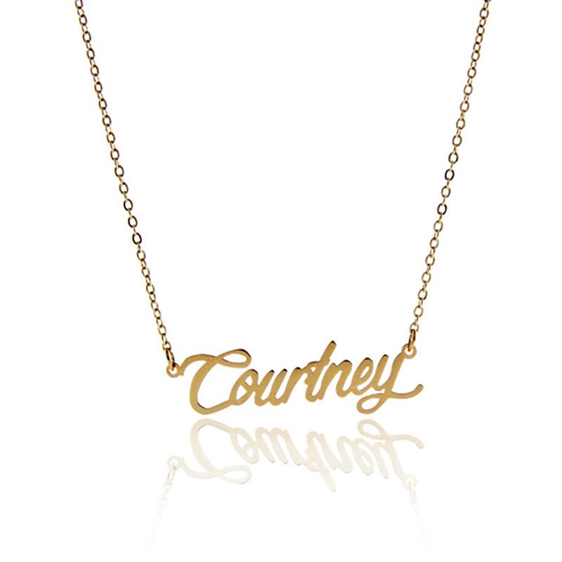 Name Necklace Women Gold Color Courtney Carrie Nameplate Necklace For Girlfriend Womens Necklaces Name Necklace
