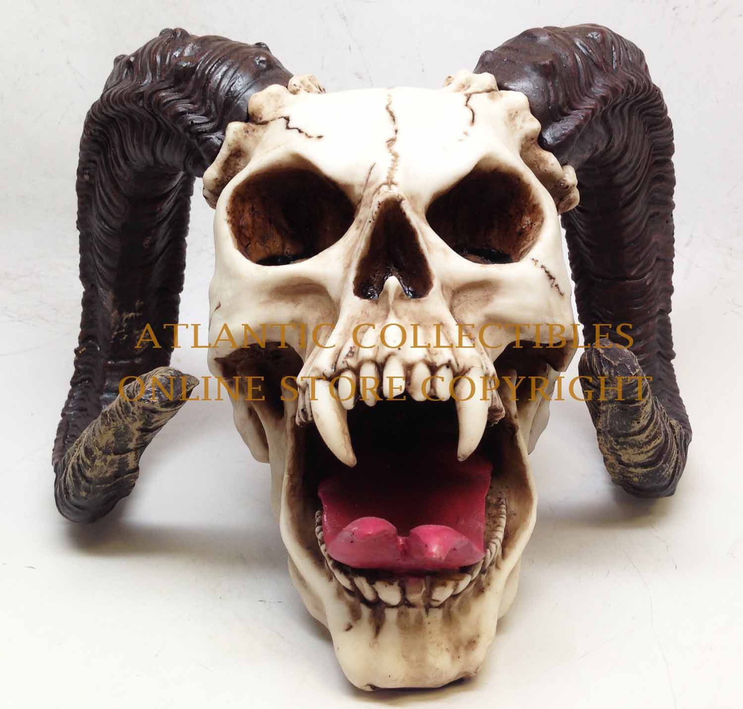 ba7750c399df7 Giant Devil Ram Horn Skull Statue Skeleton Figurine Evil Demon Dracula  Decor | eBay