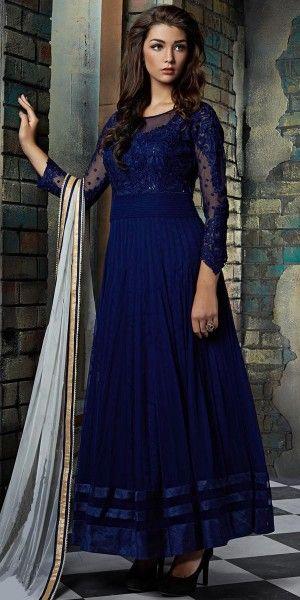 859613745d Enchanted Net Anarkali Suit In Navy Blue Color. | New arrivals ...