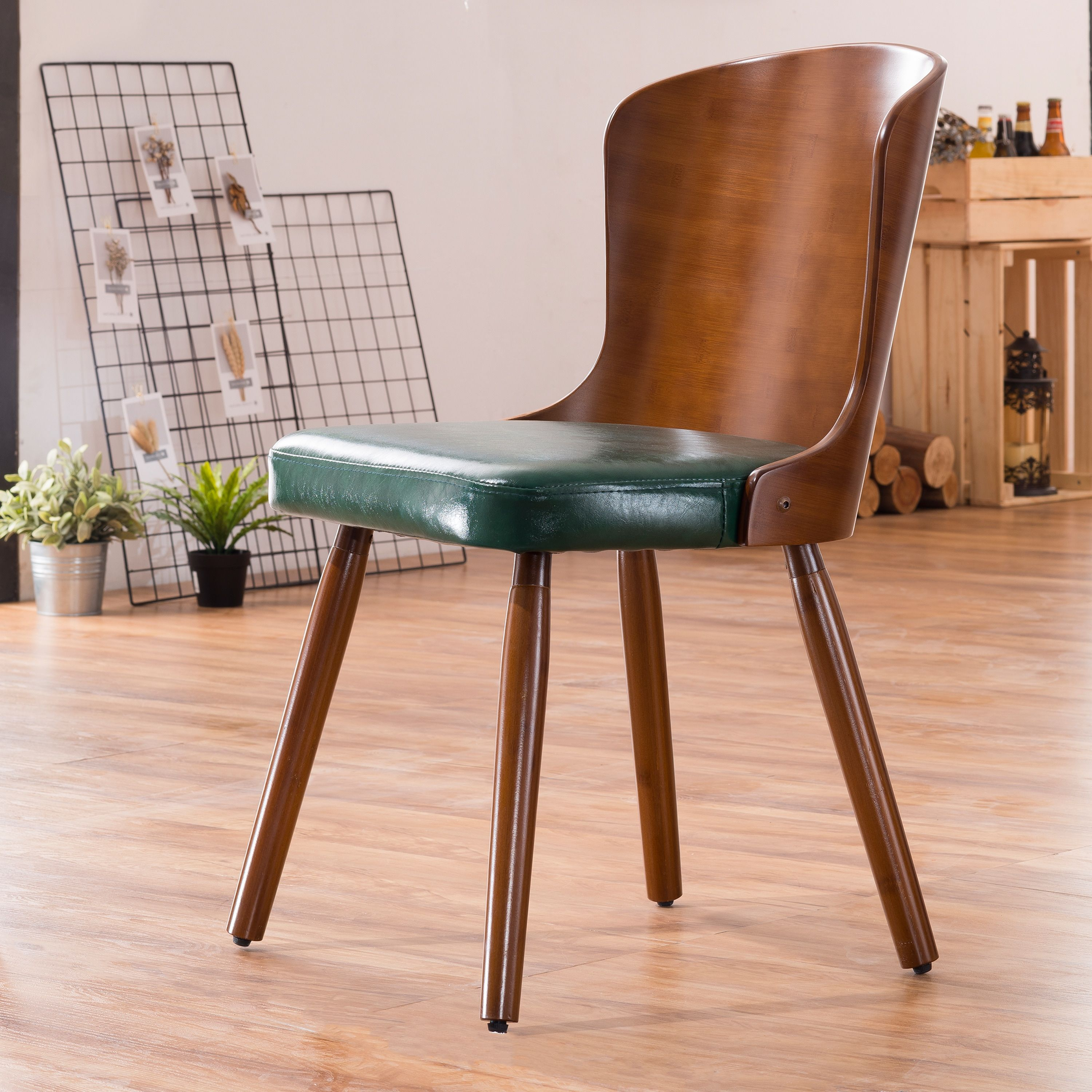 8c9d1b276beb Corvus Calvados Mid-Century Bamboo Dining Chair (Set of 2) (Dark Green  Bonded Leather)
