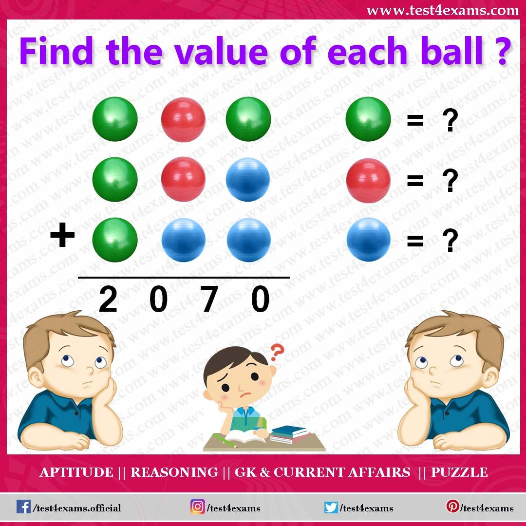 Find the value of each ball ? Get more brain teaser puzzle